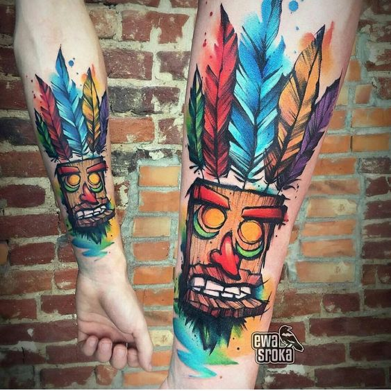 Indian Wooden Doll Forearm Tattoo