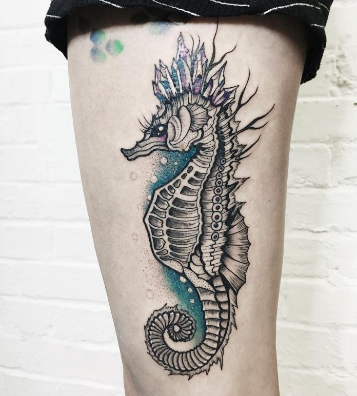 Lovely Seahorse Thigh Tattoo
