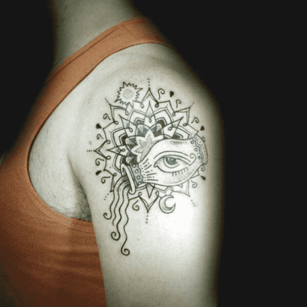 Mandala Aquarius Arm Tattoo