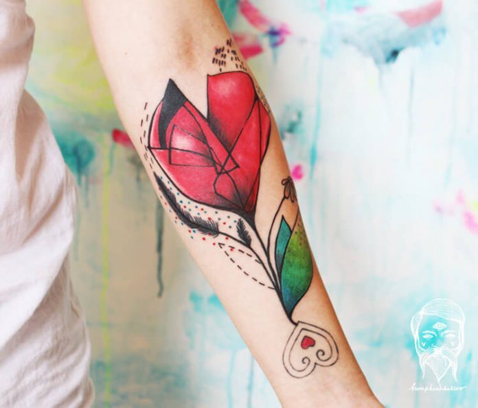 Red Flower Stalk Forearm Tattoo