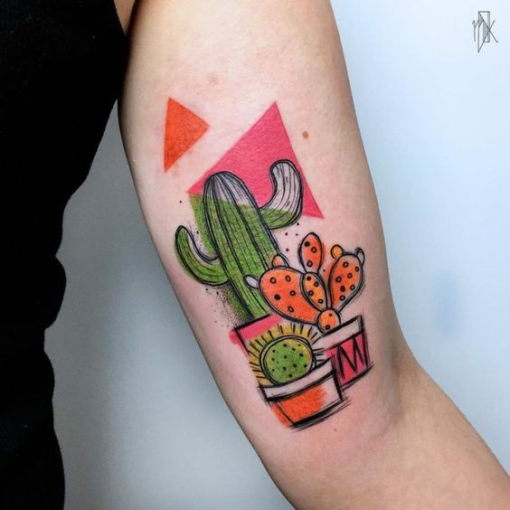 Sketchy Cactus Arm Tattoo
