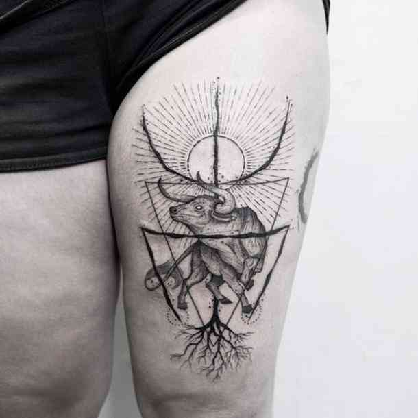 Taurus Bull Thigh Tattoo