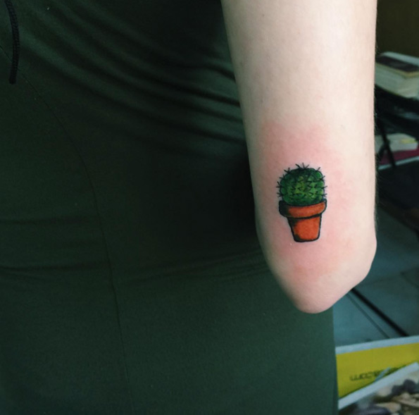 Tiny Cactus Elbow Tattoo