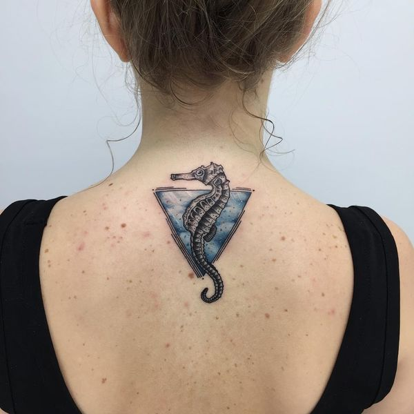 Tringle Glyph Seahorse Back Tattoo