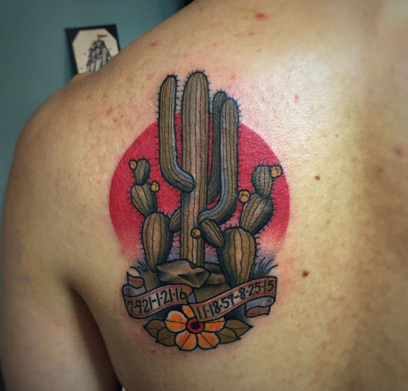 Vibrant Cactus Back Tattoo