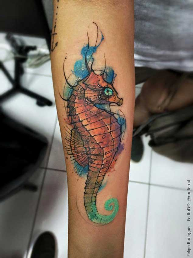 Watercolor Seahorse Forearm Tattoo