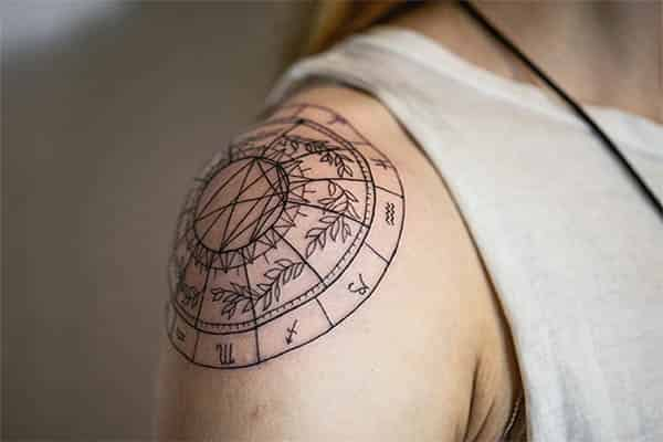 Zodiac Signs Shoulder Cap Tattoo