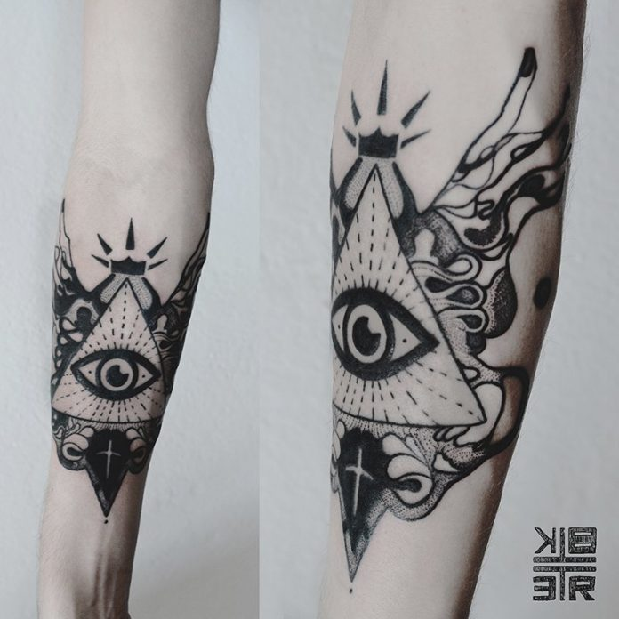 Abstract Eye Of Providence Forearm Tattoo