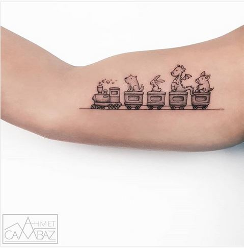 Animal Train Arm Tattoo