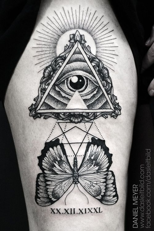 Black And Grey Eye Of Providence Tattoo