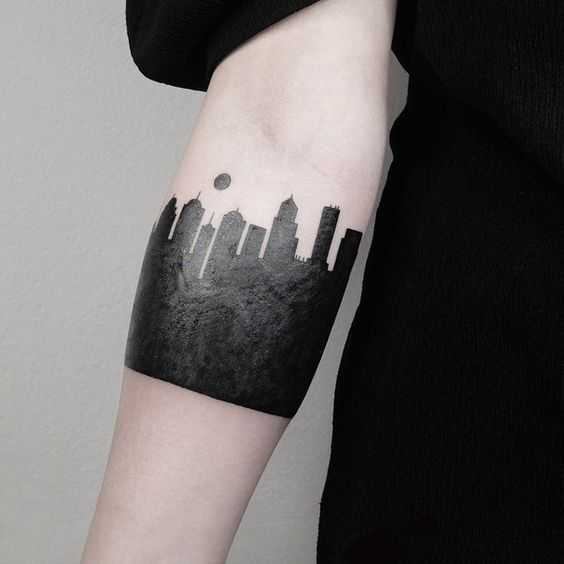 Blackwork Cityscape Forearm Tattoo