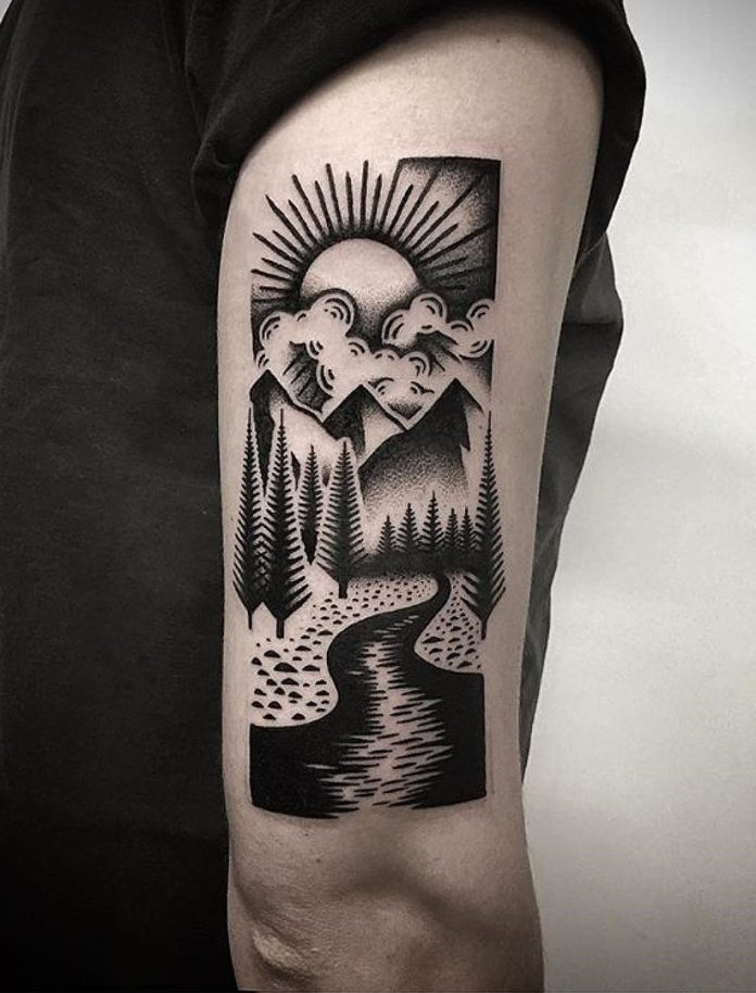 Blackwork Landscape Arm Tattoo