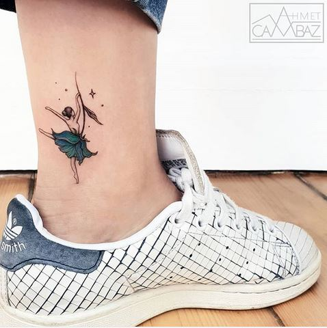 Dancing Flower Ankle Tattoo
