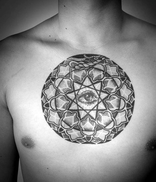 Dotwork Geometric Eye Of Providence Chest Tattoo