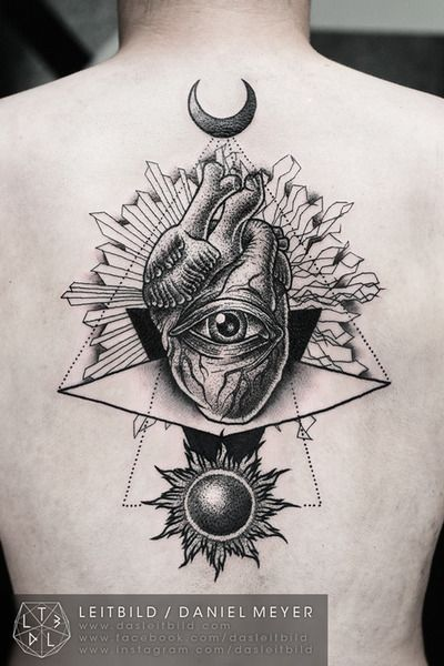 Eye Of Providence Inside A Human Heart Tattoo