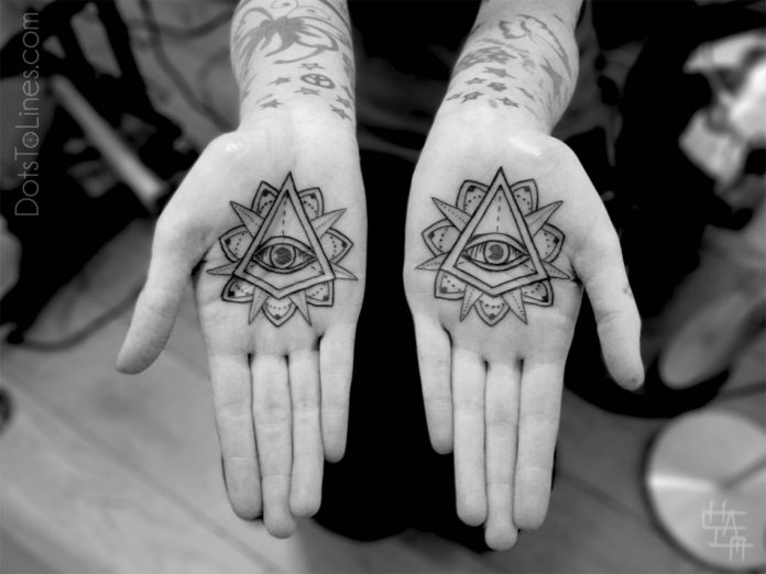 Eye Of Providence Palm Tattoos