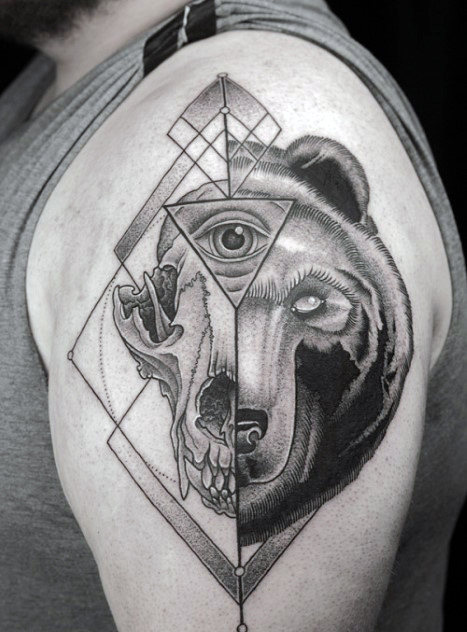 Fauna Themed Eye Of Providence Arm Tattoo
