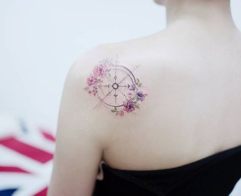 Floral Compass Shoulder Tattoo