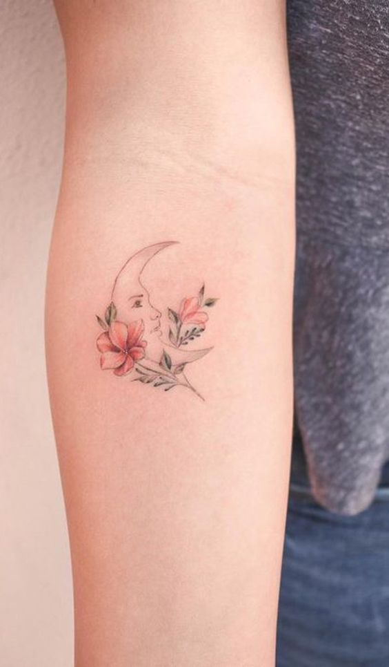 Floral Crescent Forearm Tattoo