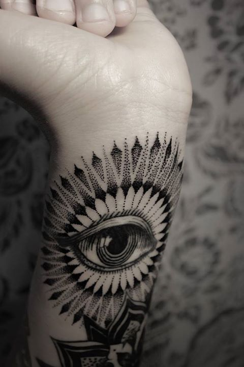 Floral Rays Eye Of Providence Tattoo