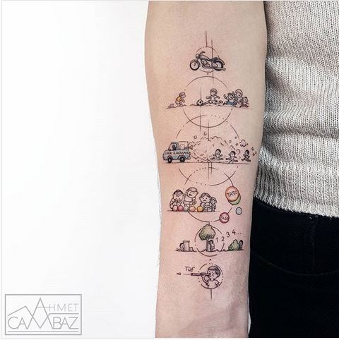 Geometric Cartoon Themed Forearm Tattoo