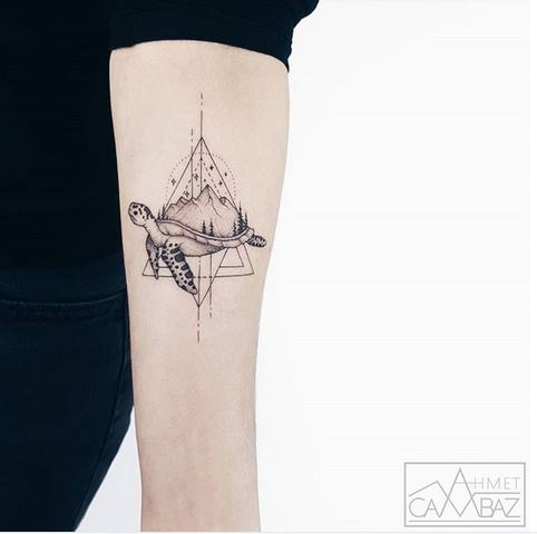 Geometric Turtle And Landsccape Forearm Tattoo