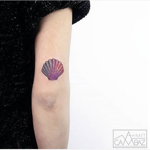 Gradient Seashell Arm Tattoo