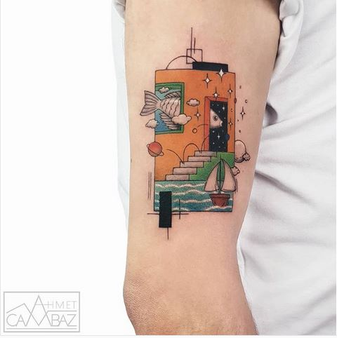 Graphic Illustration Themed Arm Tattoo