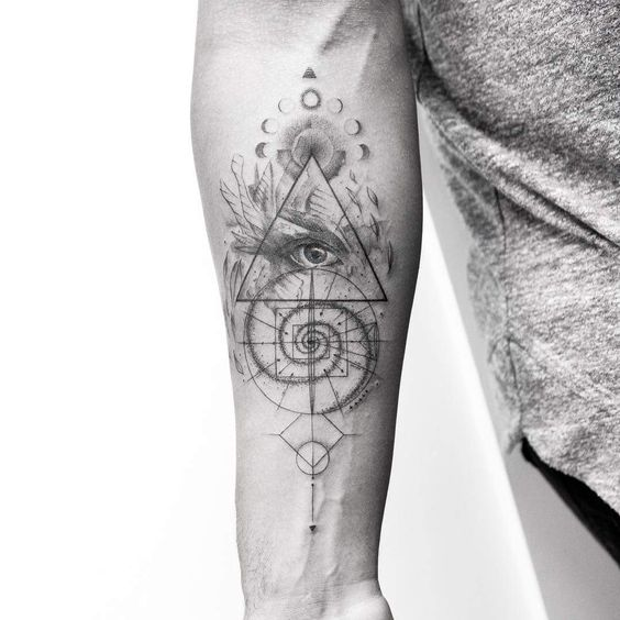 Grey Inked Eye Of Providence Tattoo