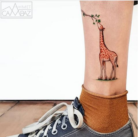 Hungry Giraffe Leg Tattoo