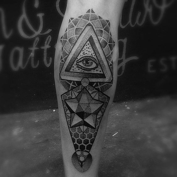 Infinite Geometry Eye Of Providence Calf Tattoo