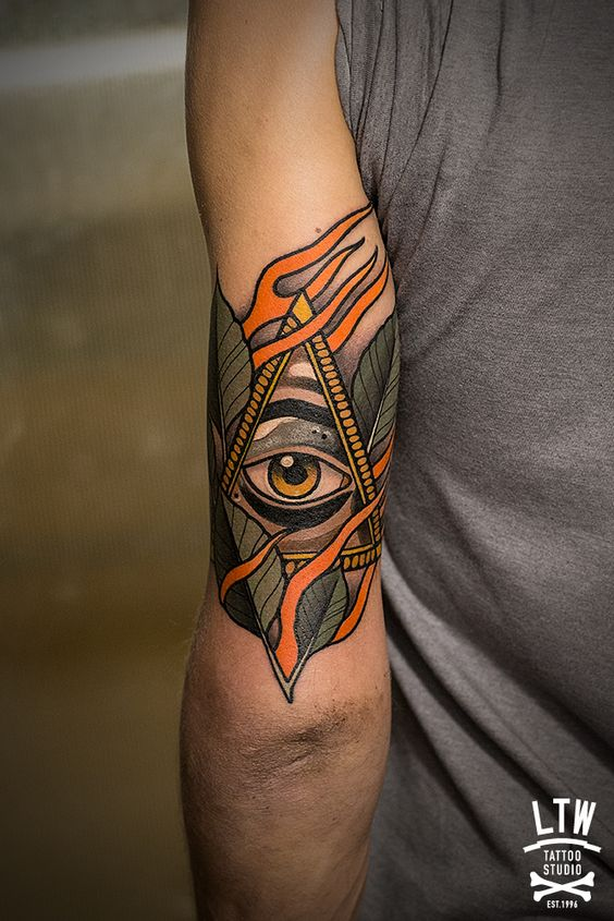 Leaf Wrapped Eye Of Providence Arm Tattoo