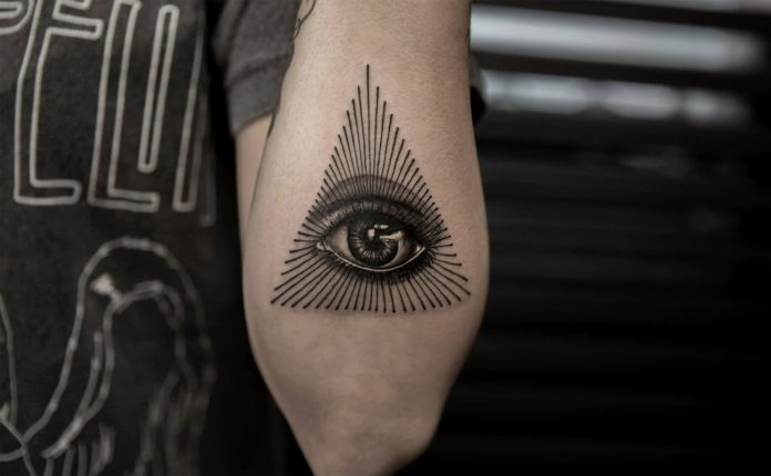Line Work Eye Of Providence Arm Tattoo