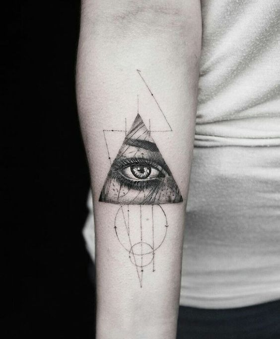 Minimalist Eye Of Providence Forearm Tattoo