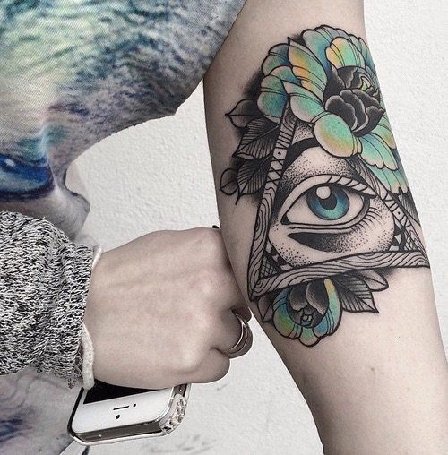Neo Traditional Eye Of Providence Arm Tattoo