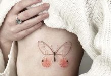 Pastel Butterfly Side Tattoo