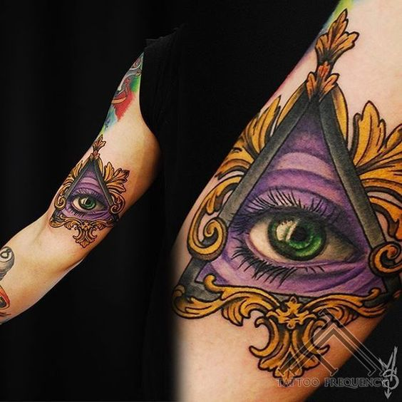 Purple Eye Of Providence Arm Tattoo
