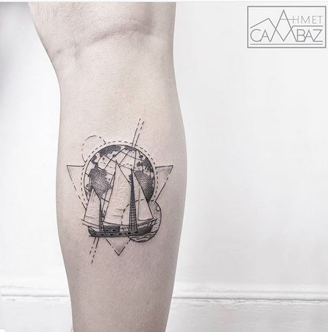 Sailing Themed Calf Tattoo