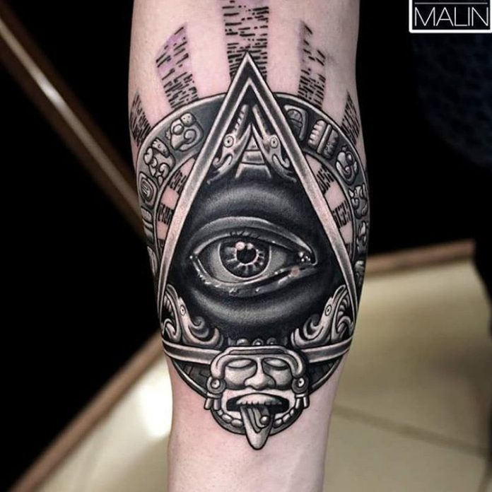 Tribal Eye Of Providence Forearm Tattoo