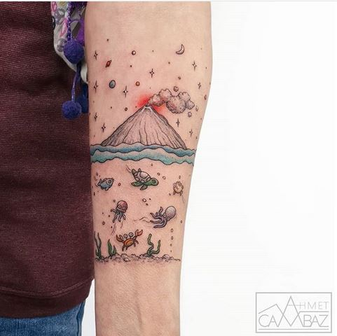 Underneath The Volcano Forearm Tattoo