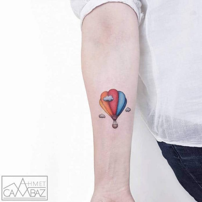 Vibrant Hot Air Balloon Forearm Tattoo
