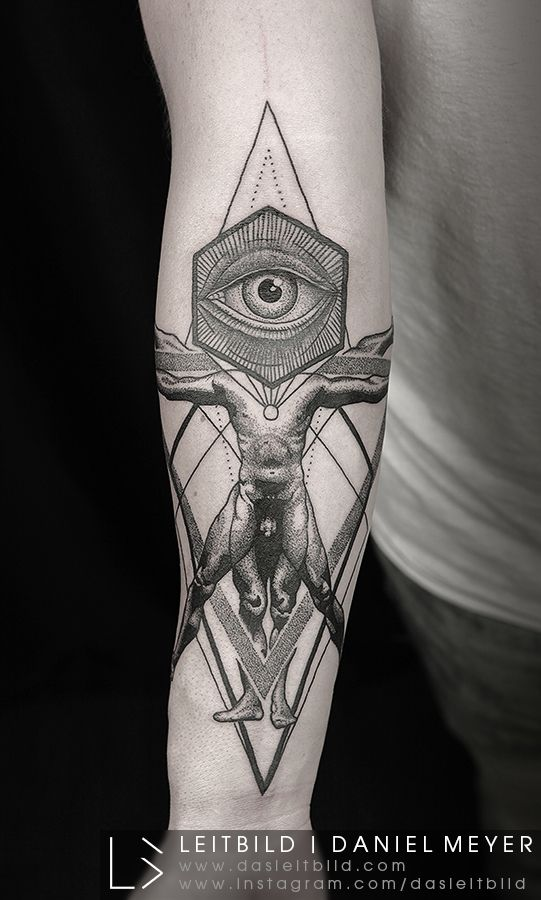 Vitruvian Eye Of Providence Forearm Tattoo
