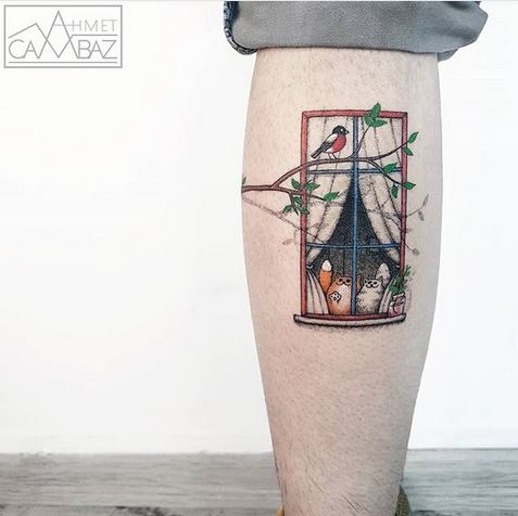 Window View Calf Tattoo
