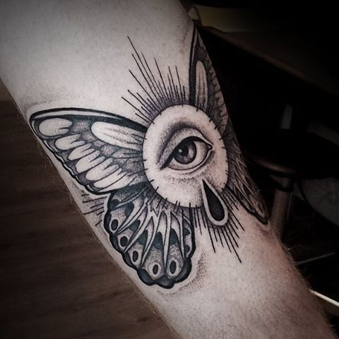 Winged Eye Of Providence Arm Tattoo