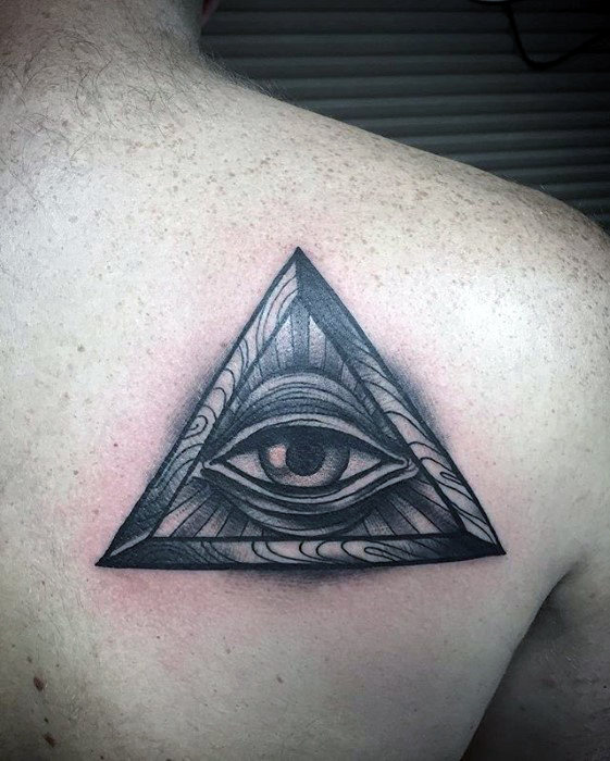 Wood Triangle Eye Of Providence Back Tattoo