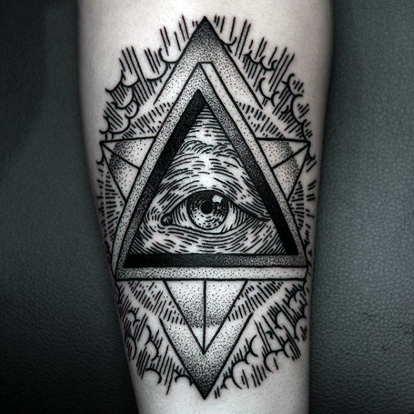 Woodcut Eye Of Providence Forearm Tattoo