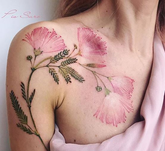 Albizia Twigs Arm To Chest Tattoo