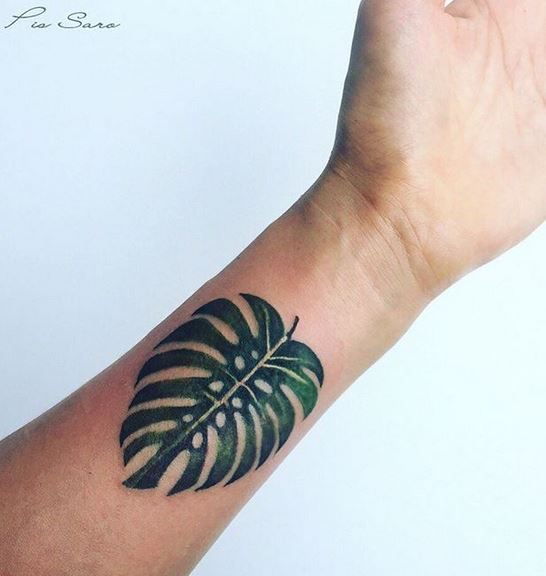 Balinese Monstera Leaf Wrist Tattoo
