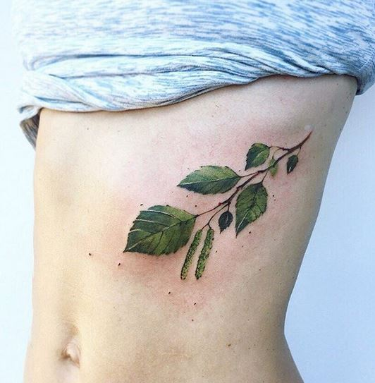 Birch Tree Branch Belly Tattoo