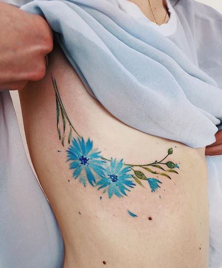 Blue Flowers Side Boob Tattoo